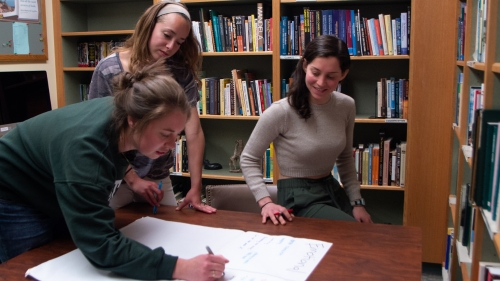 Students working in the Sustainability Office