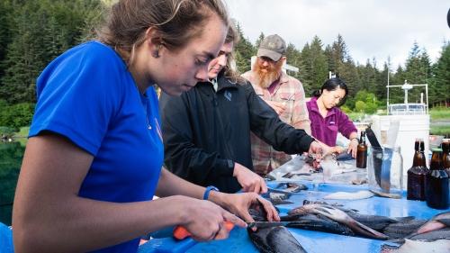 Students prepare fish for dinner in Alaska