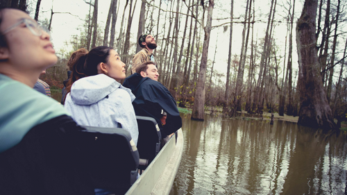 Students tour a Louisiana swamp in a boat