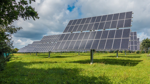 Photovoltaic panels in a field