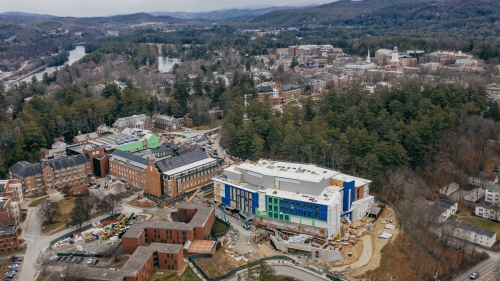 Aerial view of the construction at the Center for Engineering and Computer Science