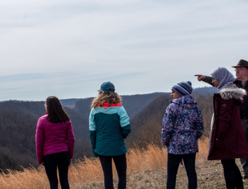 students on a mountaintop in West Virginia