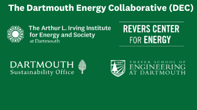 Dartmouth Energy Collaborative with Irving Institute, Revers Center, Sustainability Office, and Thayer School logos