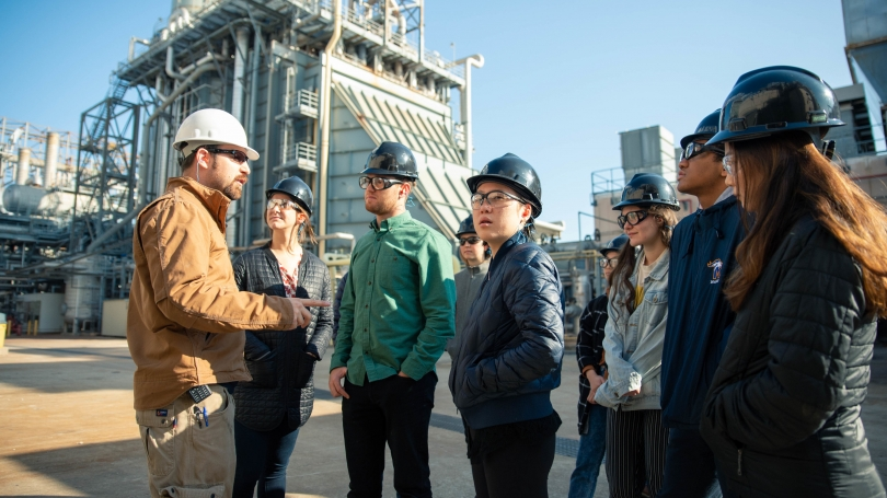 Students at a refinery