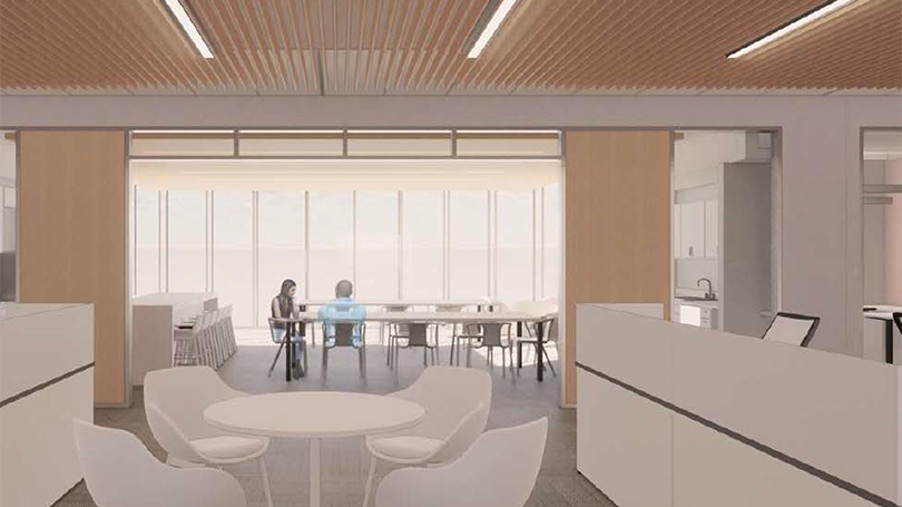 Architect's rendering of a collaboration space in the new Institute building