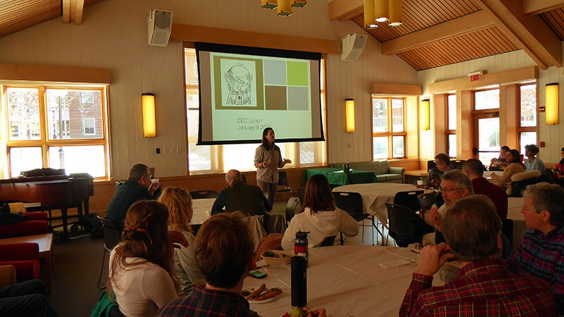 Dartmouth Sustainability Director Rosi Kerr talks about Dartmouth's Energy System at a recent DEC Lunch