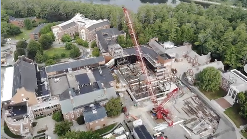 Aerial view of construction site, august 2020