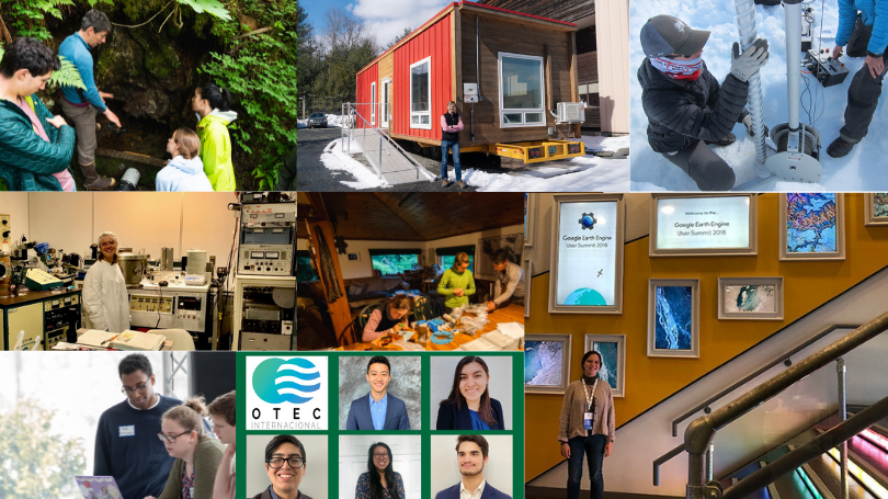 an image with pictures of students who did mini-grant projects L-R Inian Islands micro-hydro install, VerMod documentation, Denali ice core drilling, biomechanical energy harvesting devices, Inaian research, student project world cafe, OTEC, google earth