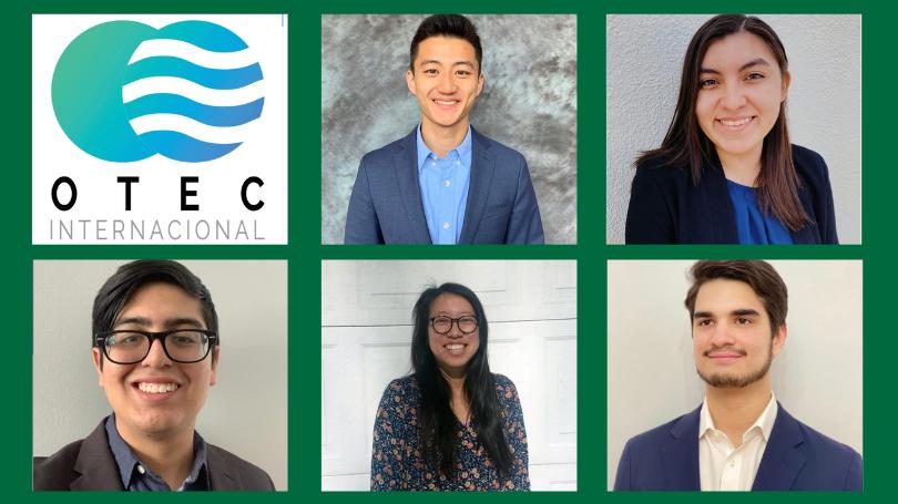 The Dartmouth OTEC Team: L-R (top) OTEC international logo, Eric Chen, Emily Martinez, Andres Rosales, Michelle Wang, Santiago Zamora-Castillo