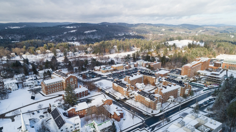 Aerial view of campus in winter