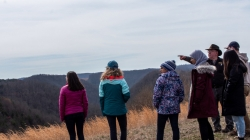 Students looking at a former coal mining site